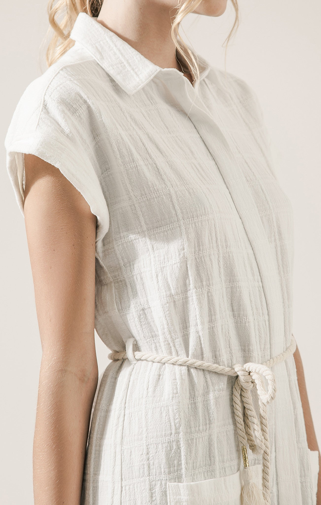 LINEN SHIRT DRESS WITH ROPE