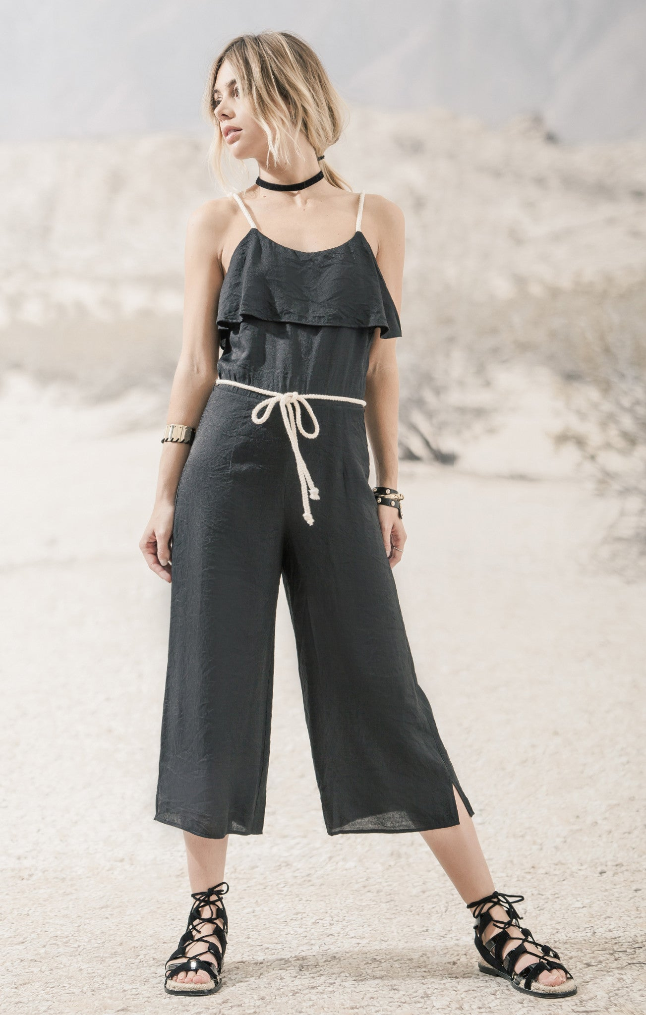 STRAPPY ROMPER WITH ROPE BELT