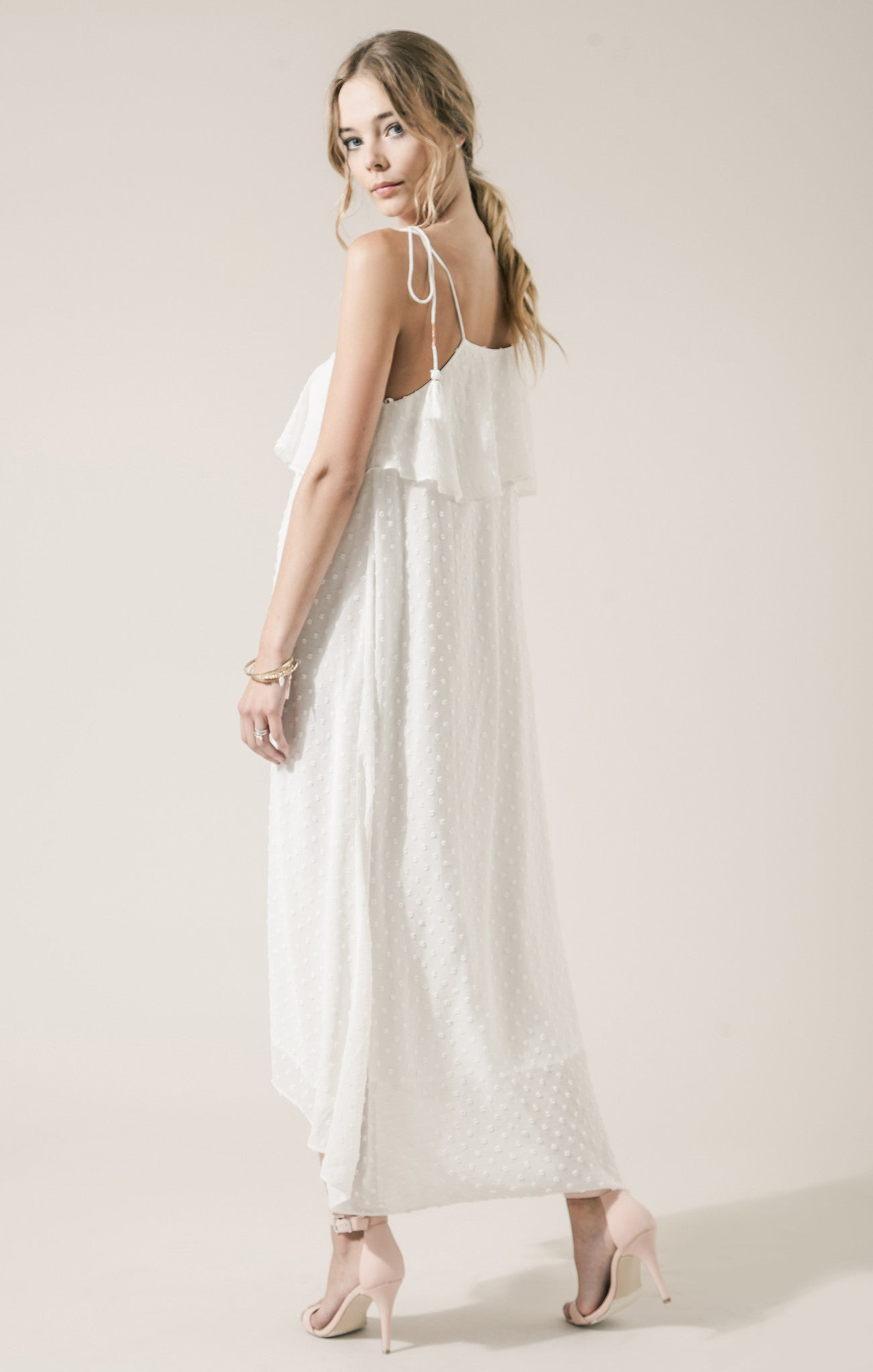 STRAPPY DRESS WITH LACE TRIM