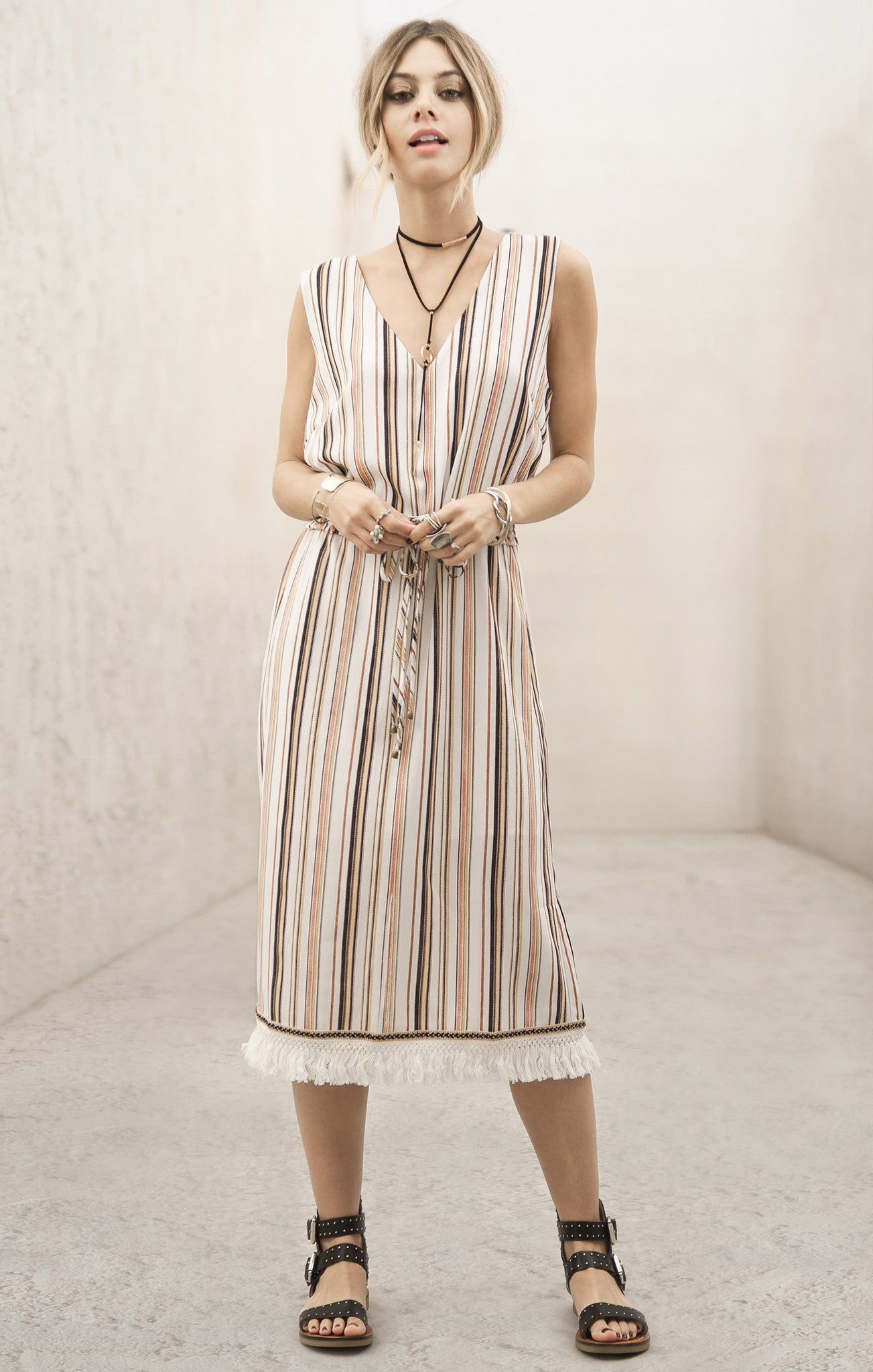 STRIPE DRESS WITH CONTRAST TRIM