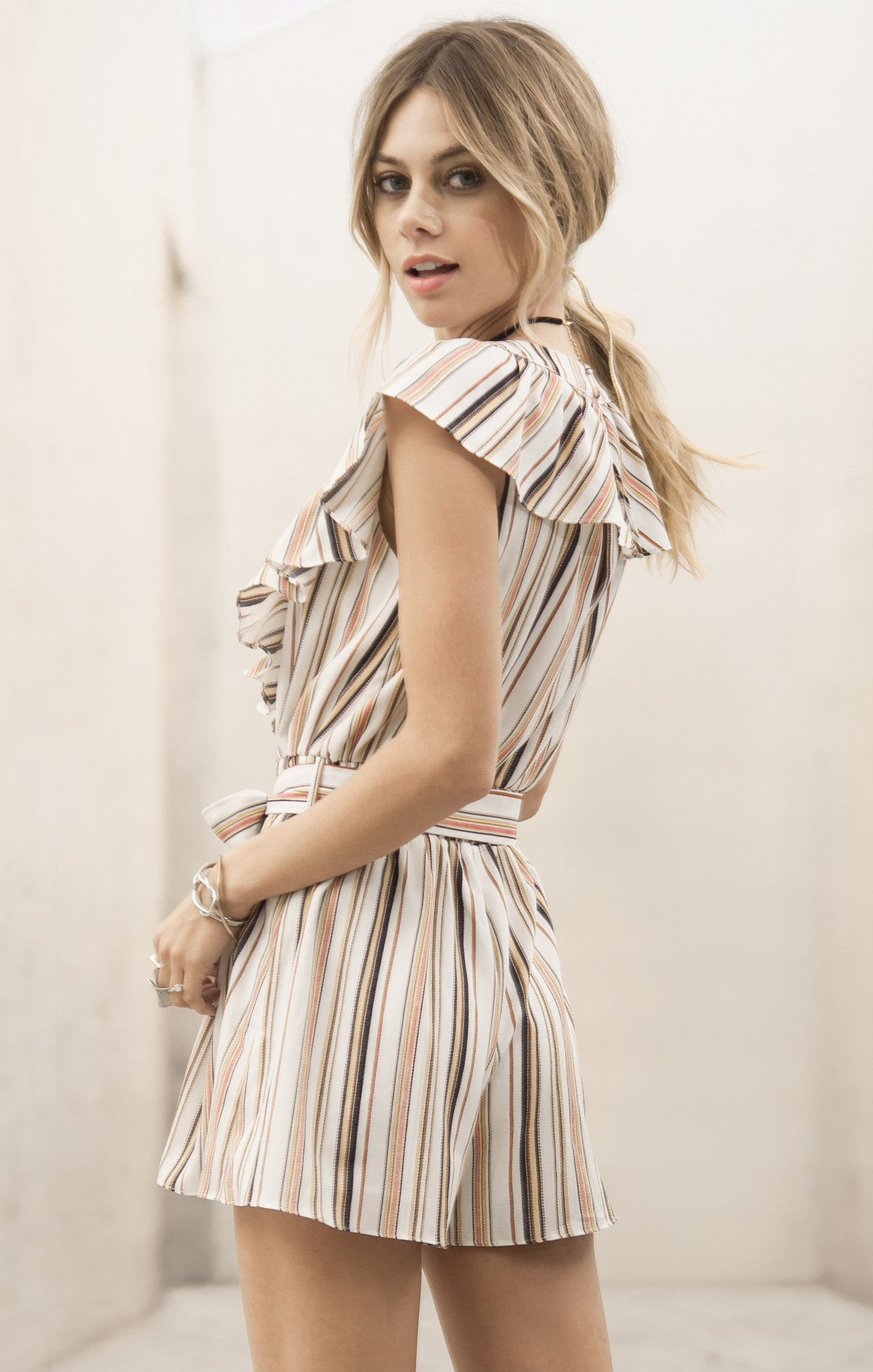 STRIPE ROMPER WITH RUFFLE