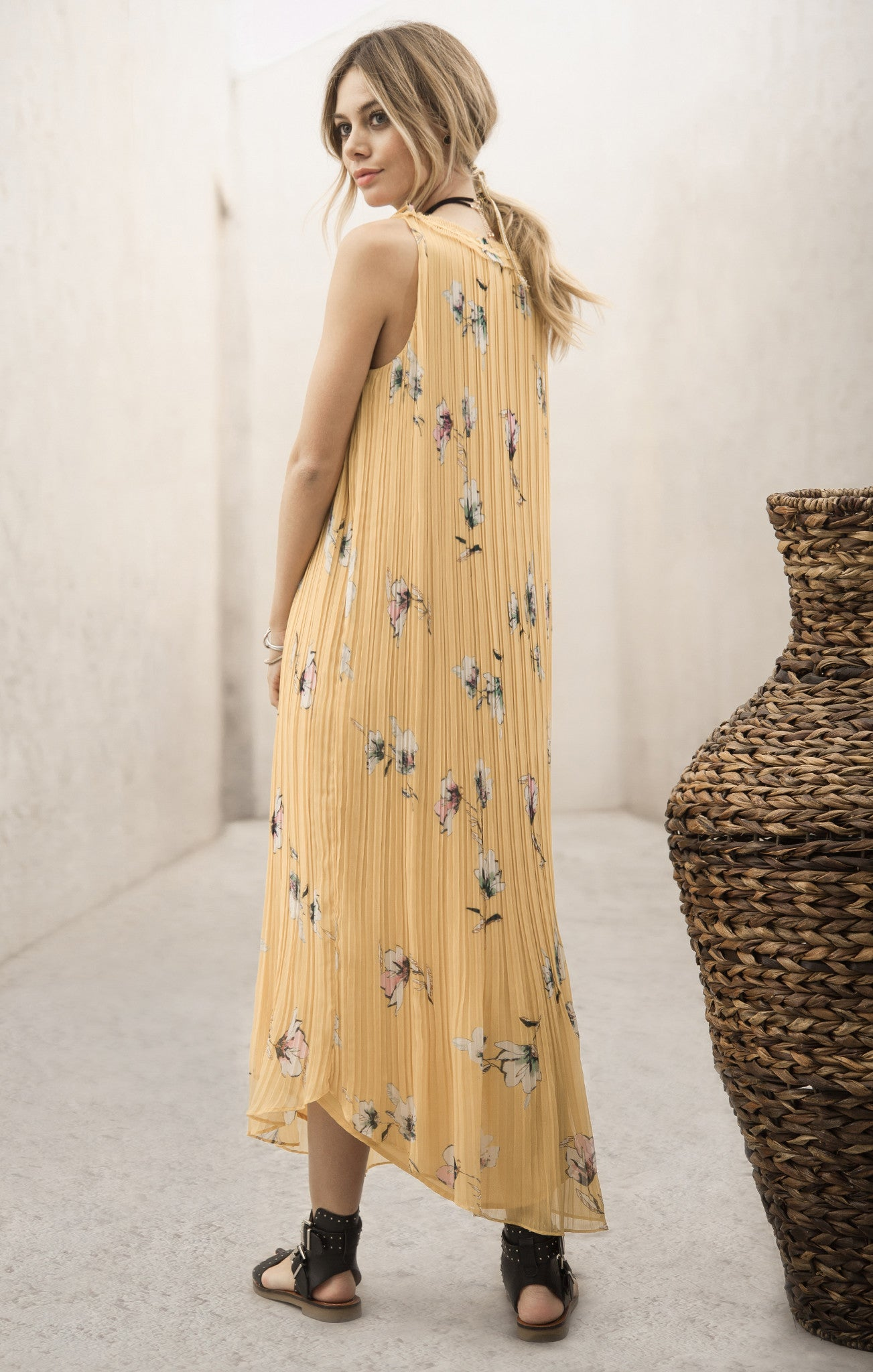 CRYSTAL PLEATS PRINT MAXI DRESS