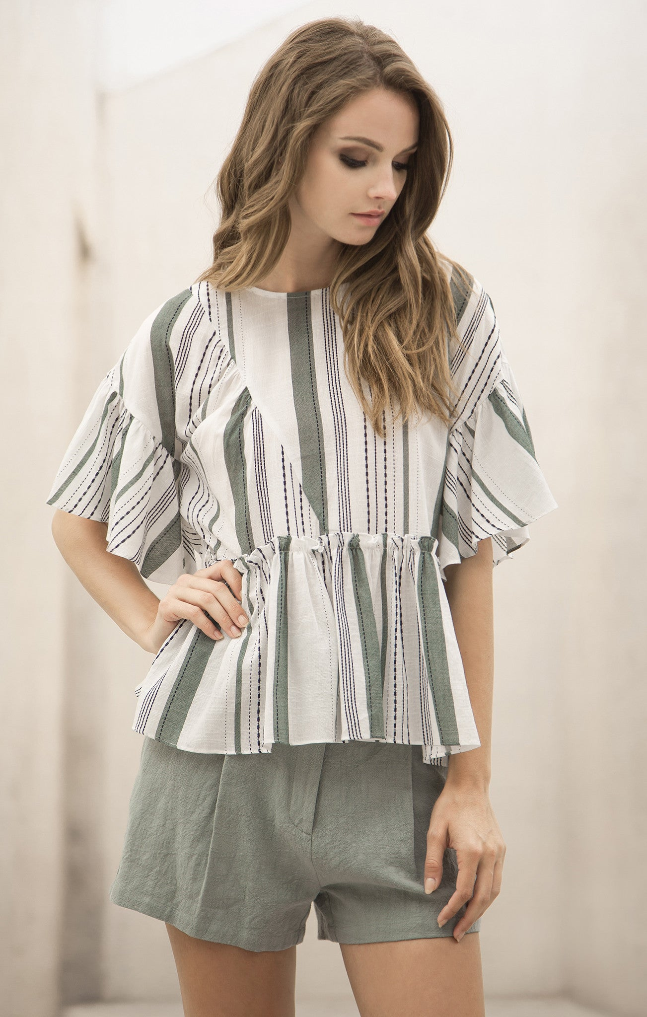 SHIRRING DETAIL STRIPE TOP