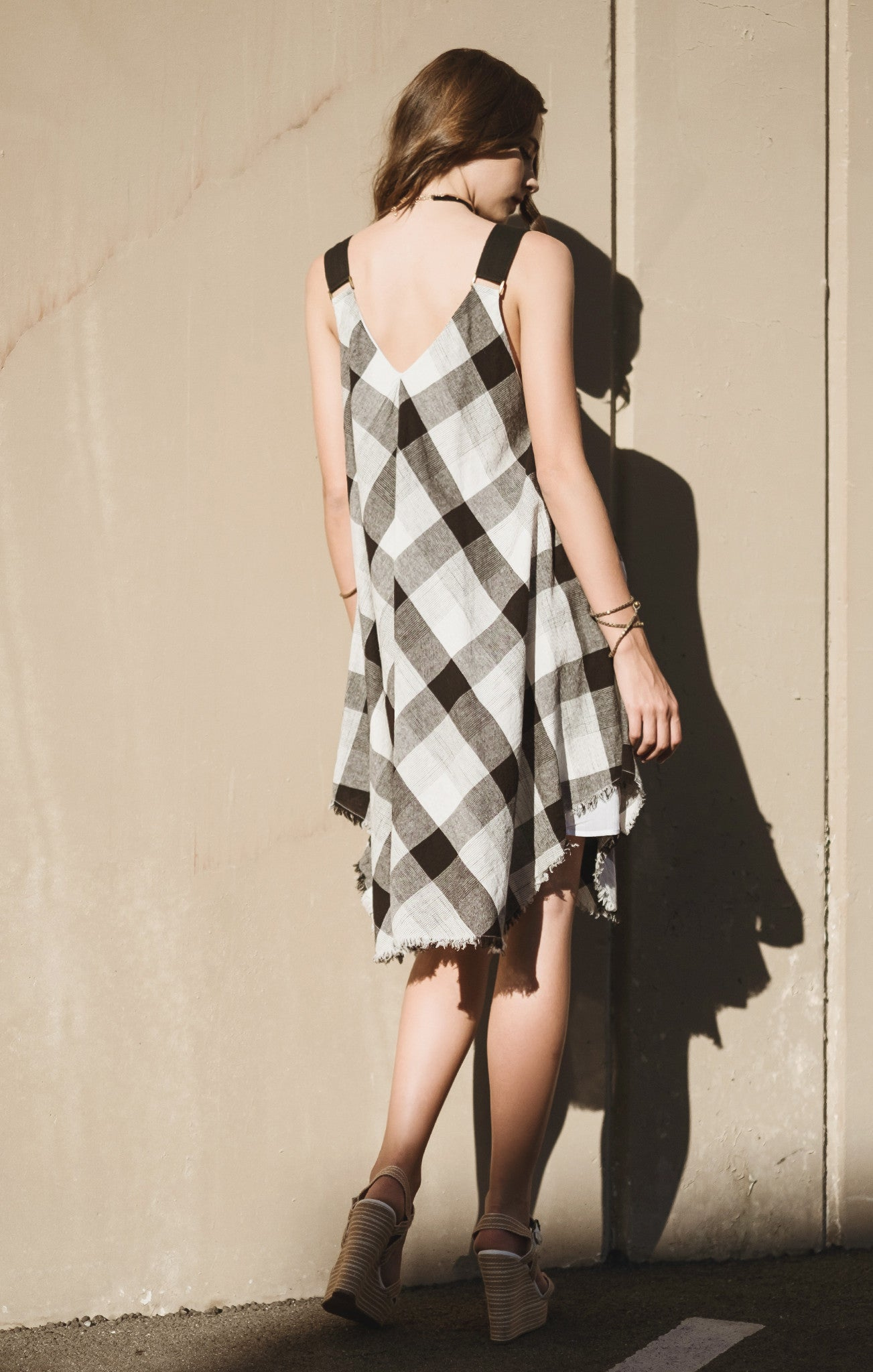 ASYMMETRICAL DRAPPERY STRAP DRESS