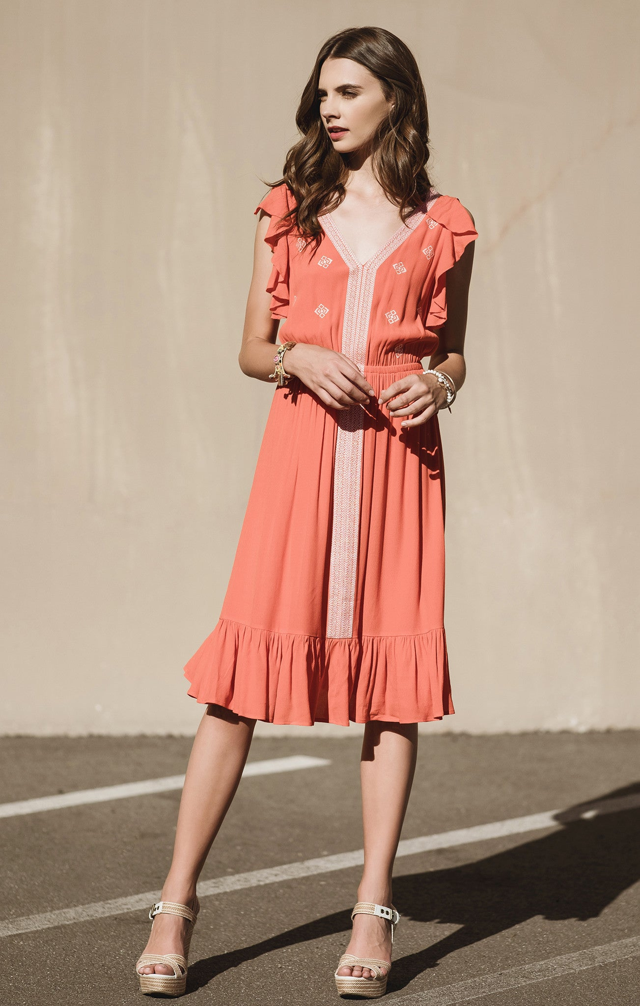 SHIRRED SHORT SLEEVE EMBROIDERED DRESS