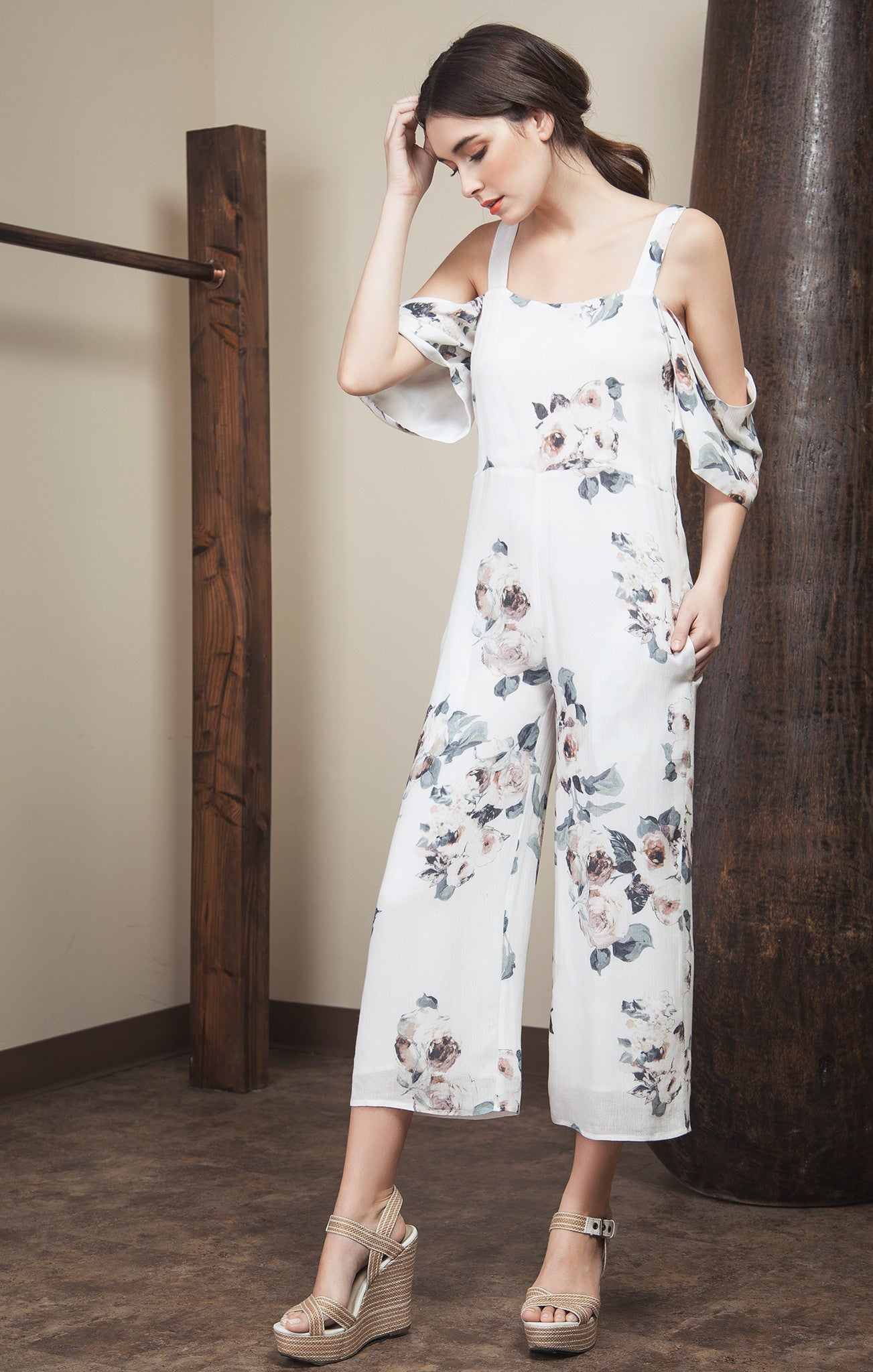 OPEN SHOULDER WITH WIDE LEG JUMPSUIT