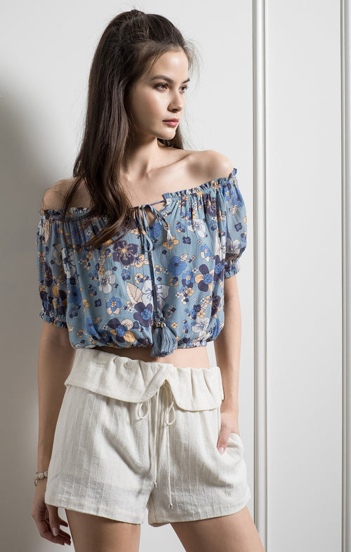 ELASTIC OFF SHOULDER PRINTED TOP