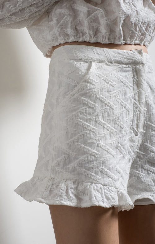 RUFFLE DETAILED SHORTS