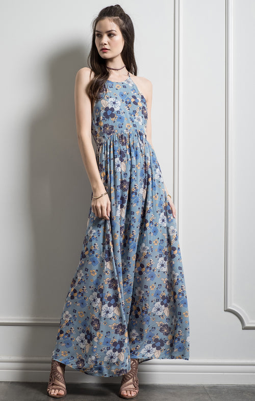 FLORAL BACK TIE MAXI DRESS