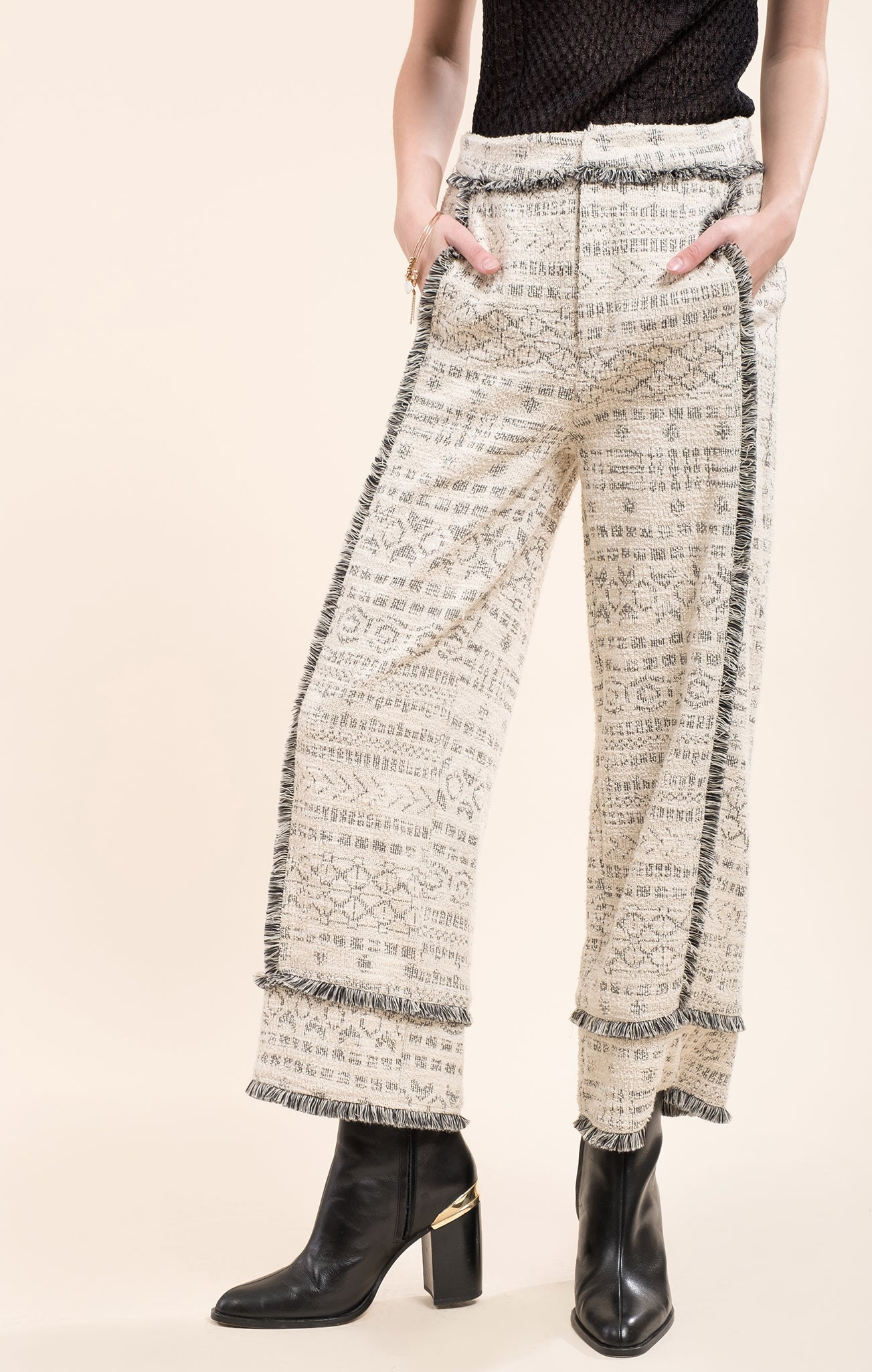 WIDE LEG KNIT PANTS WITH TRIM