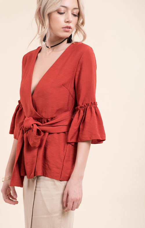 BELL SLEEVE WRAP WOVEN TOP