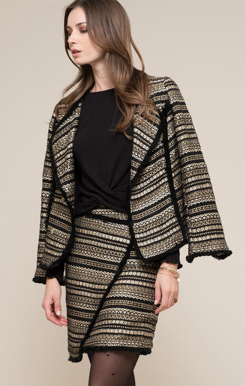 METALLIC TWEED BLAZER