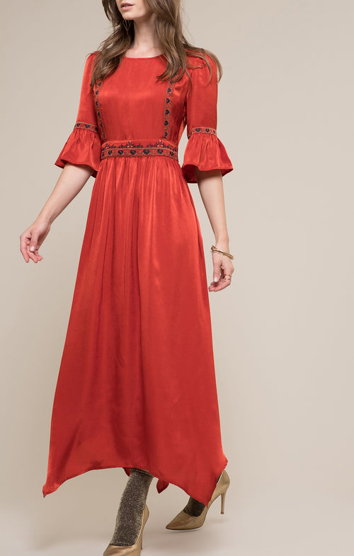 EMBROIDERY BELL SLEEVE MAXI DRESS