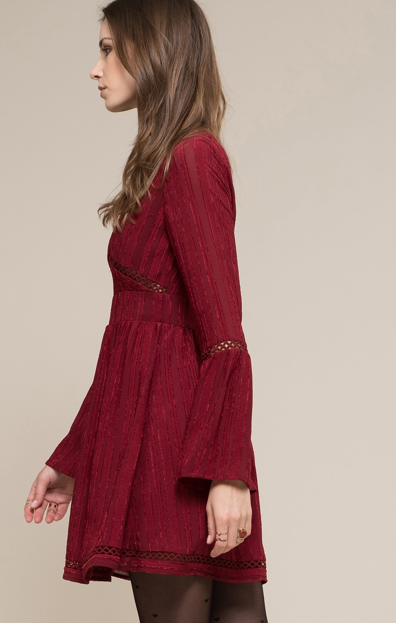 BELL SLEEVE LACE TRIM WOVEN DRESS