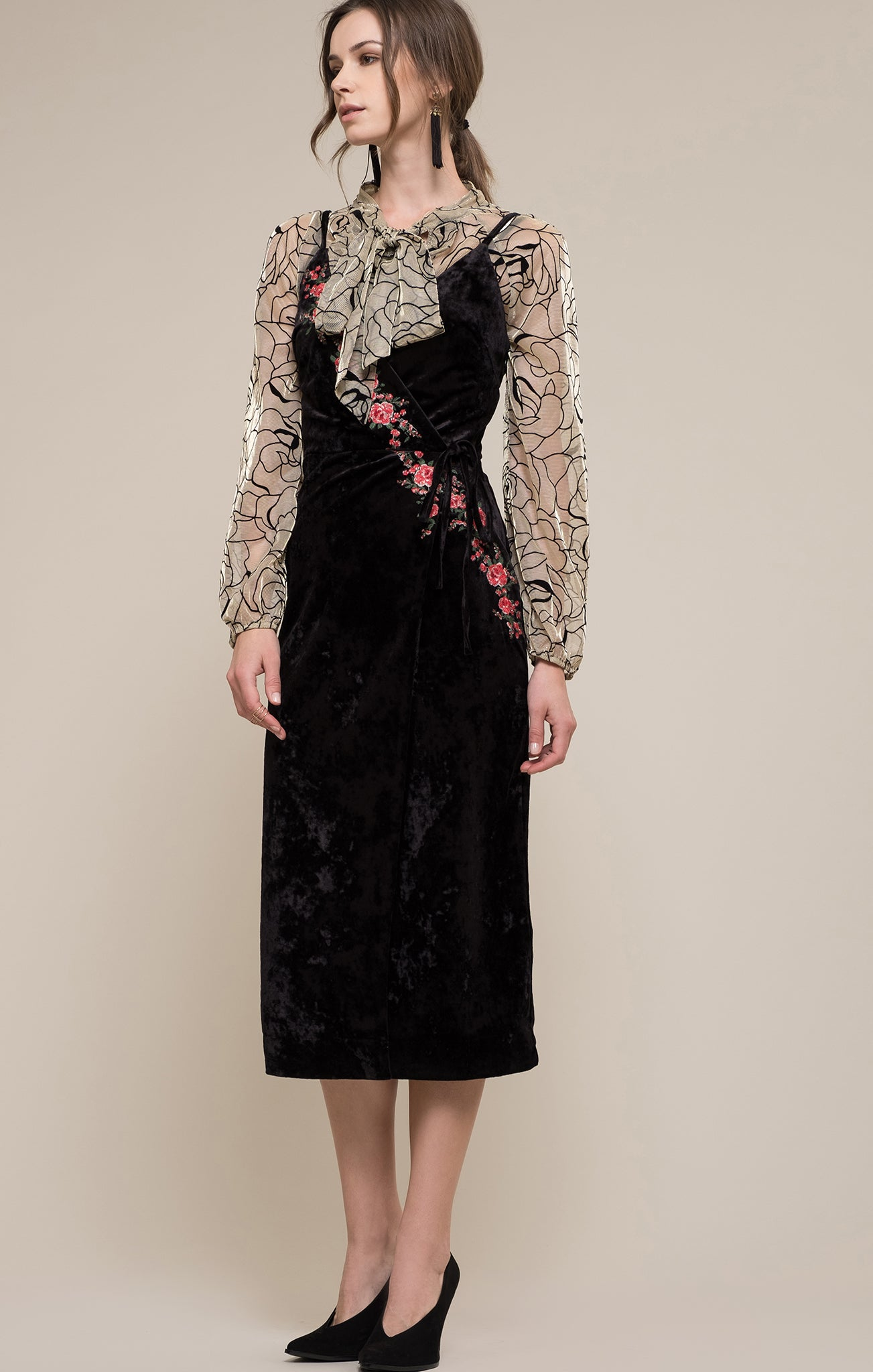 d48fd42edd0 EMBROIDERED VELVET WRAP DRESS – Moon River