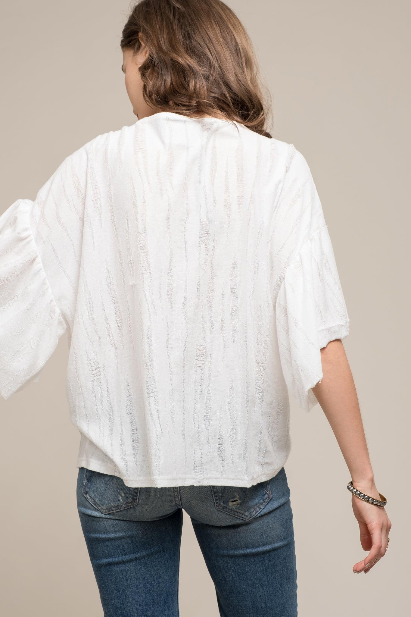 LACE UP FRONT TOP WITH FLARED SLEEVES