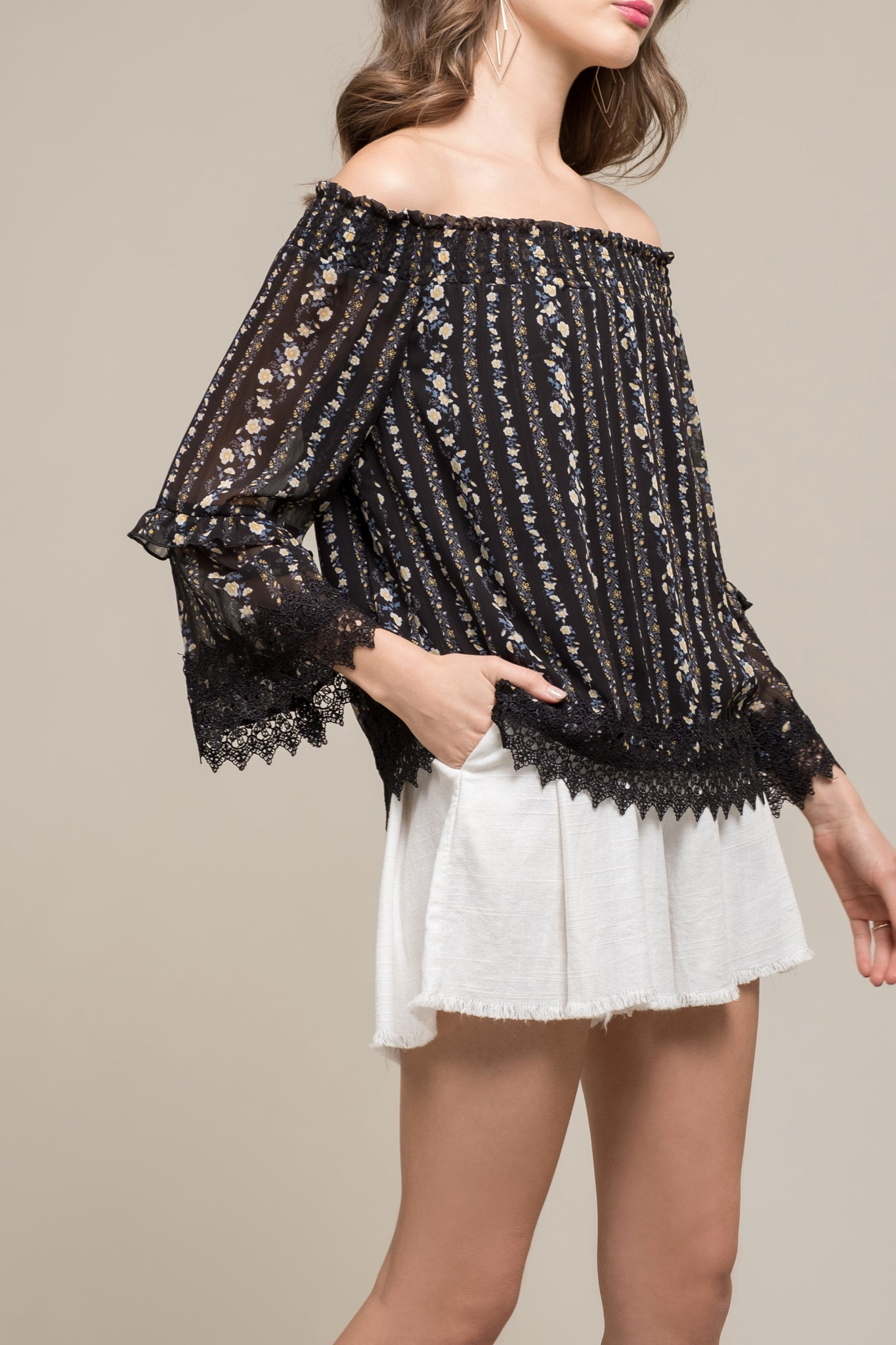 OFF SHOULDER SMOCKED TOP WITH LACE TRIM