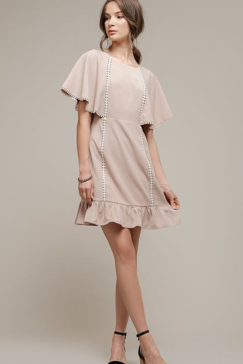 CAP SLEEVE DRESS WITH BACK TIES