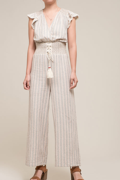 SMOCKED WAIST LACE UP JUMPSUIT