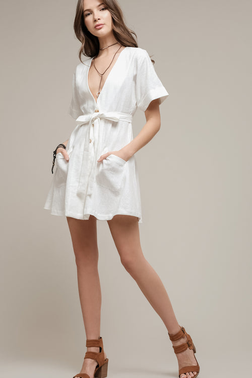 SHORT SLEEVE ROBE TIE DRESS