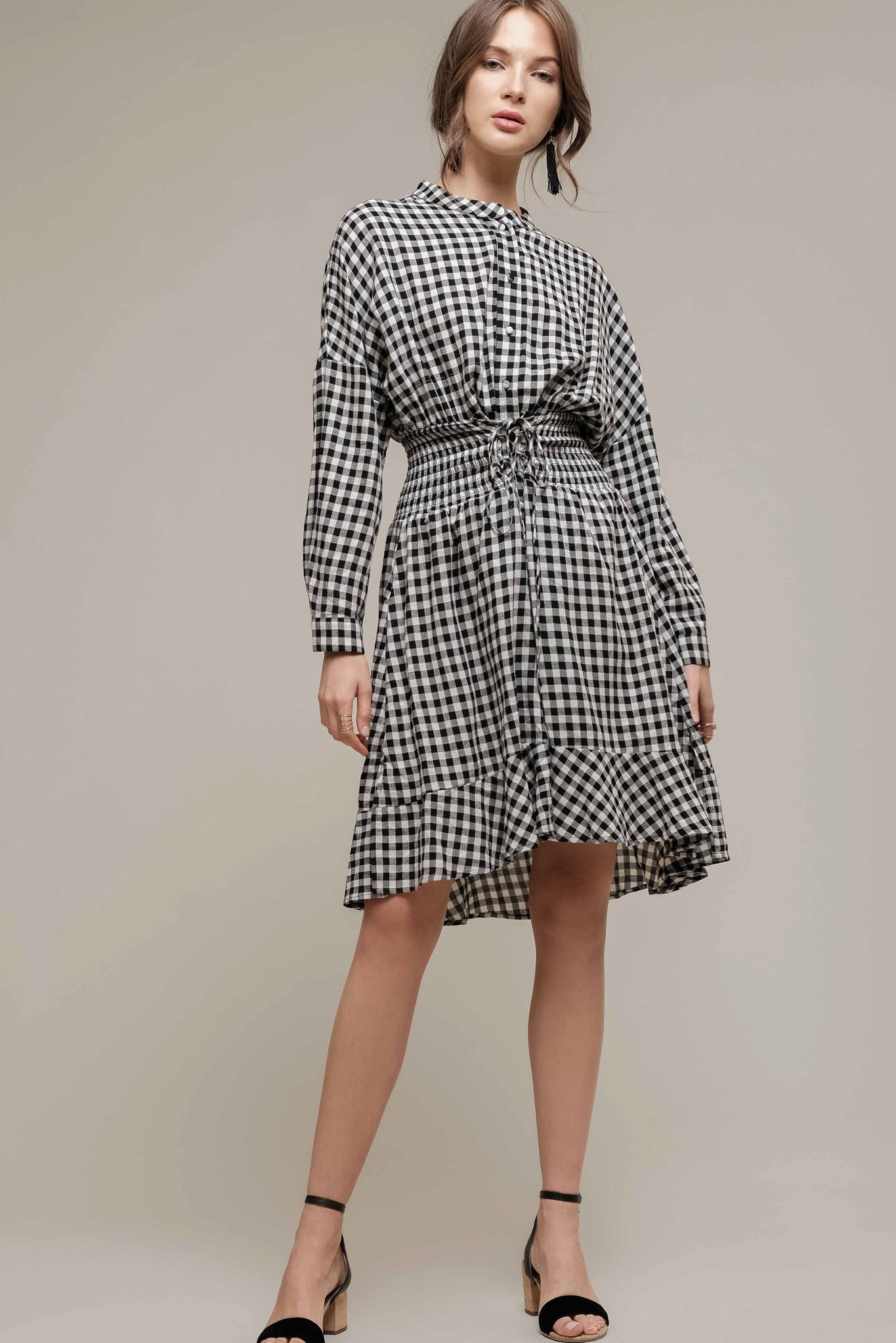 NOTCHED COLLAR DRESS WITH FRILLS