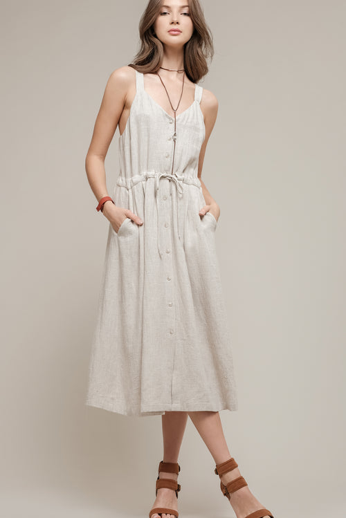 BUTTON UP DRESS WITH TIE WAIST