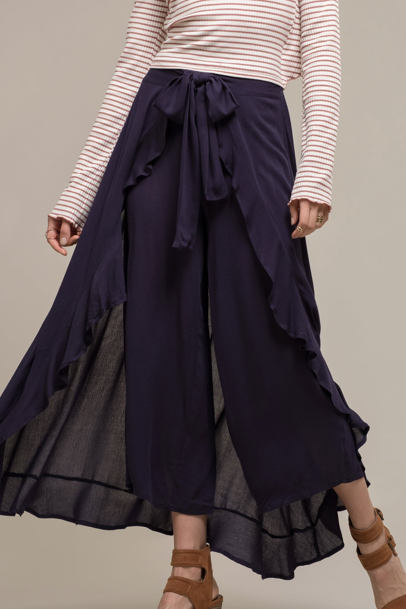 TIE FRONT LAYERED RUFFLE PANTS