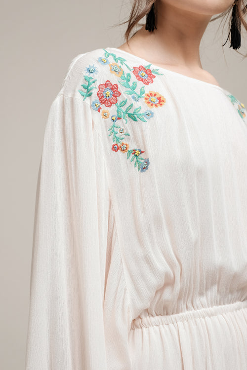 EMBROIDERED DRESS WITH ELASTIC WAIST