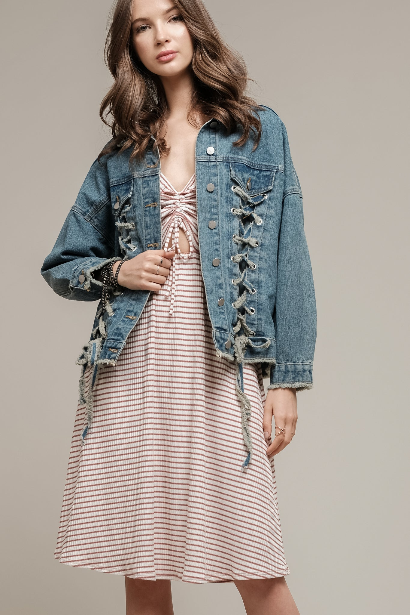 DENIM JACKET WITH LACE UP DETAILS