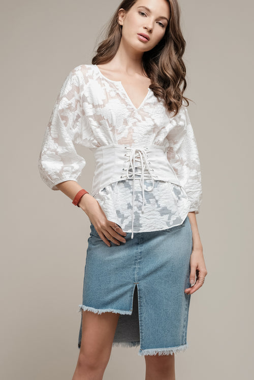 3/4 SLEEVE TOP WITH CORSET WAIST