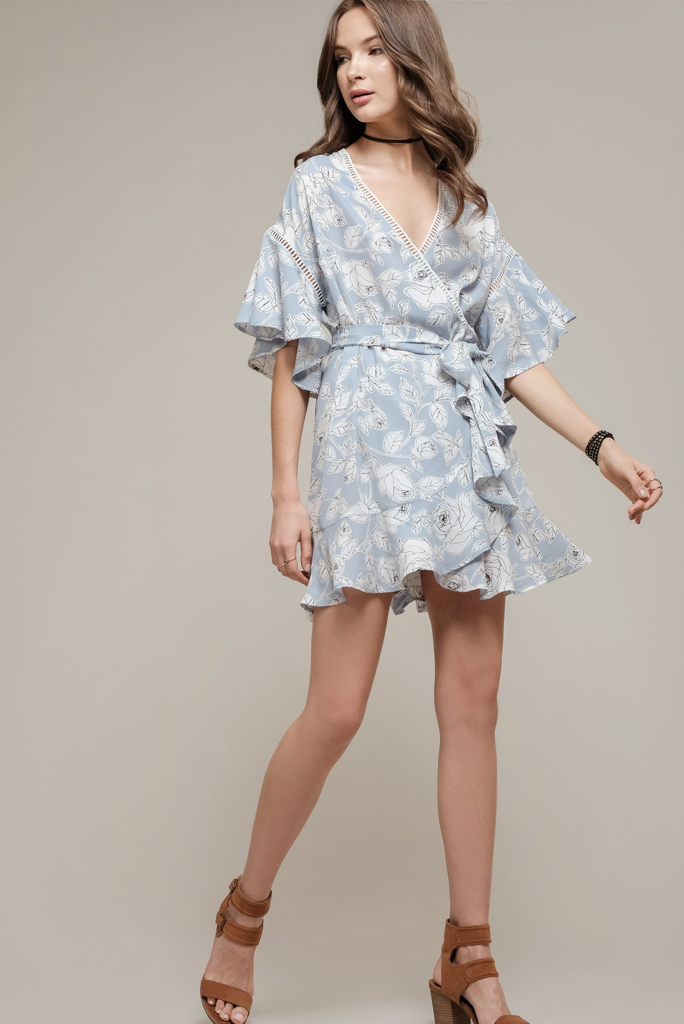 32c0ce13504265 FLORAL PRINTED WRAP DRESS WITH FRILL HEM – Moon River