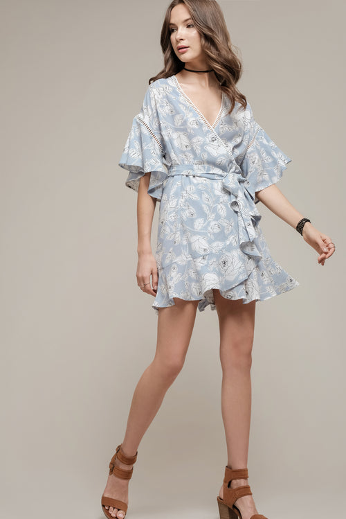 FLORAL PRINTED WRAP DRESS WITH FRILL HEM