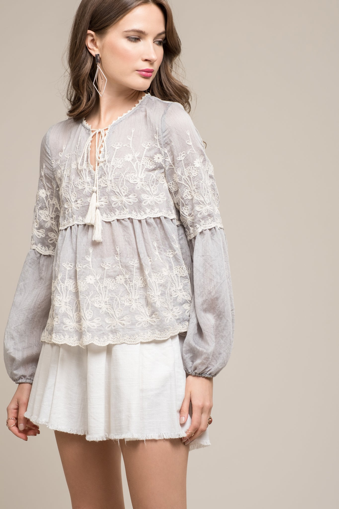 TIERED LONG SLEEVE TOP WITH EMBROIDERY AND SCALLOP HEM