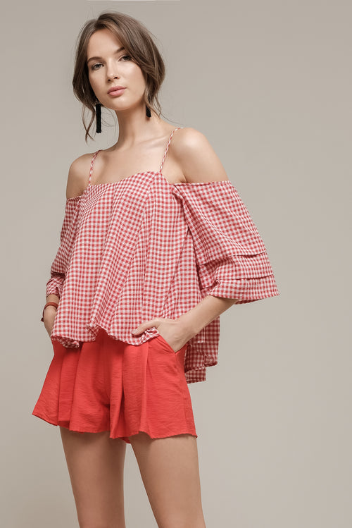 PRINTED COLD SHOULDER TOP WITH TIERED SLEEVES
