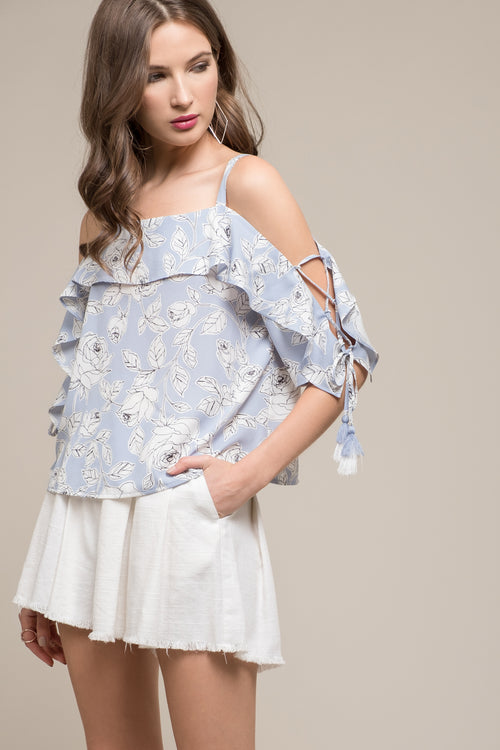 FLORAL PRINTED COLD SHOULDER FRILL TOP WITH LACE UP SLEEVES
