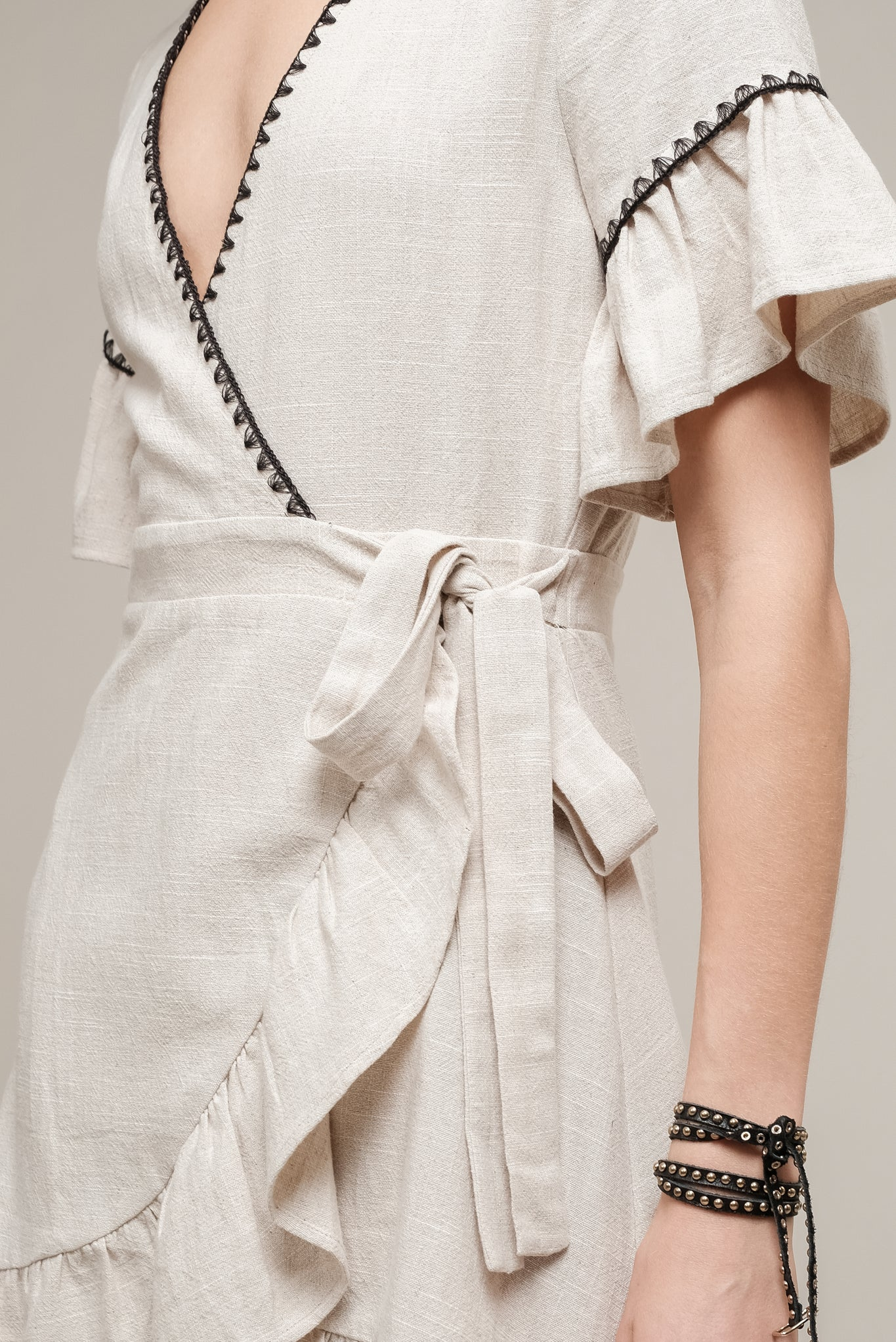 WRAP DRESS WITH TRIM