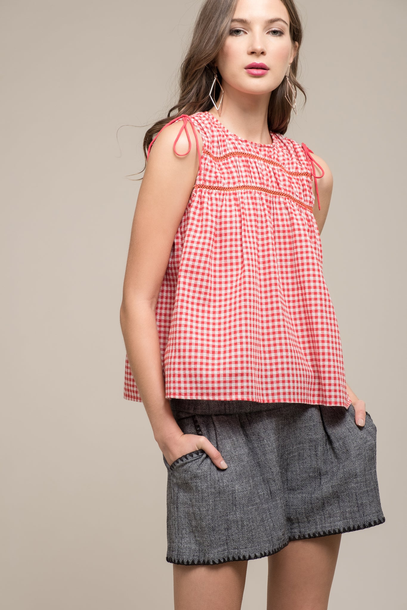 GINGHAM COLD SHOULDER TOP WITH LACE INSET AND SHOULDER TIES