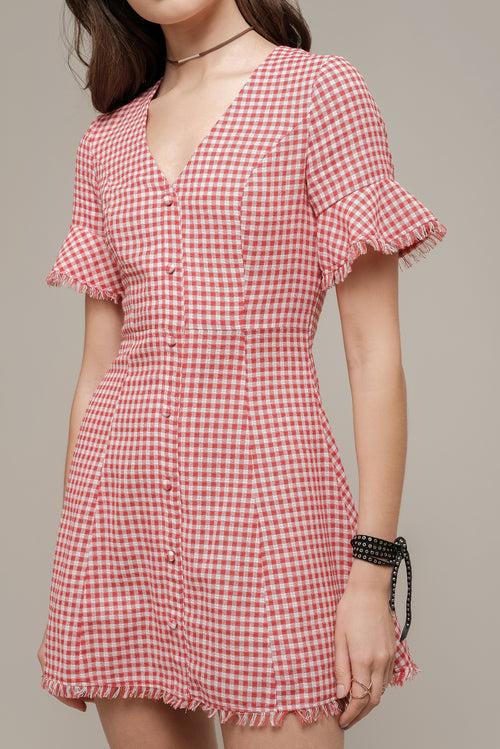 GINGHAM BUTTONED DRESS