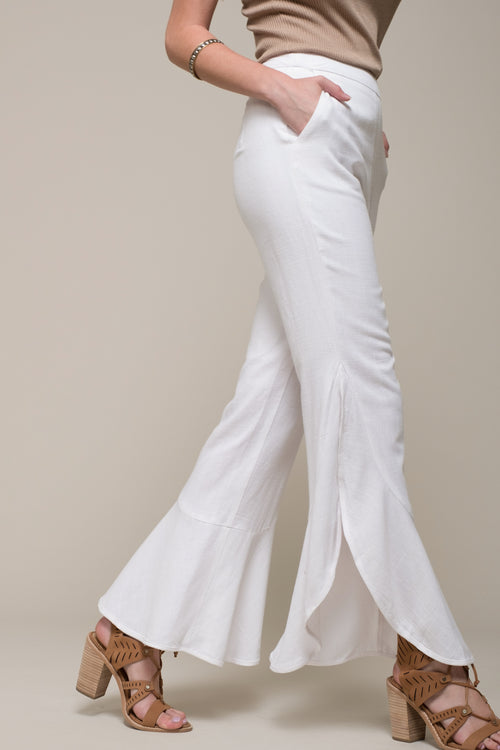 SIDE SLIT RUFFLE PANTS