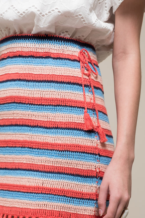 KNIT STRIPED SKIRT