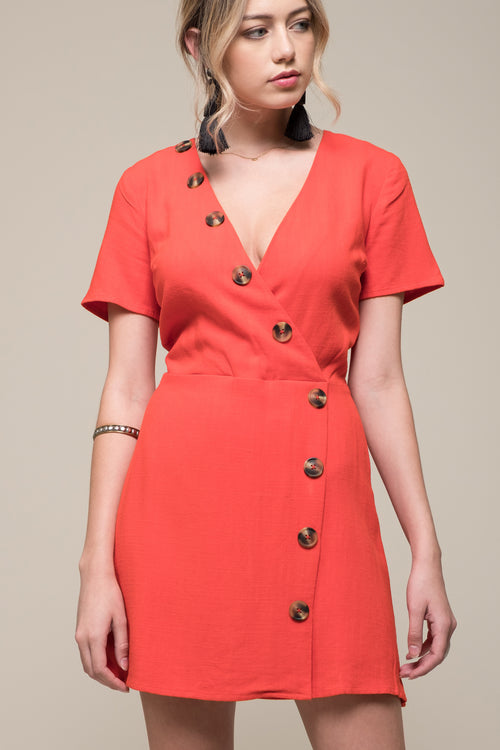 ASYMMETRICAL BUTTON DRESS