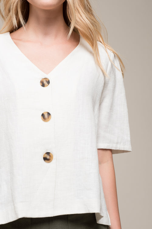 PLEATED SLEEVE BUTTON UP TOP