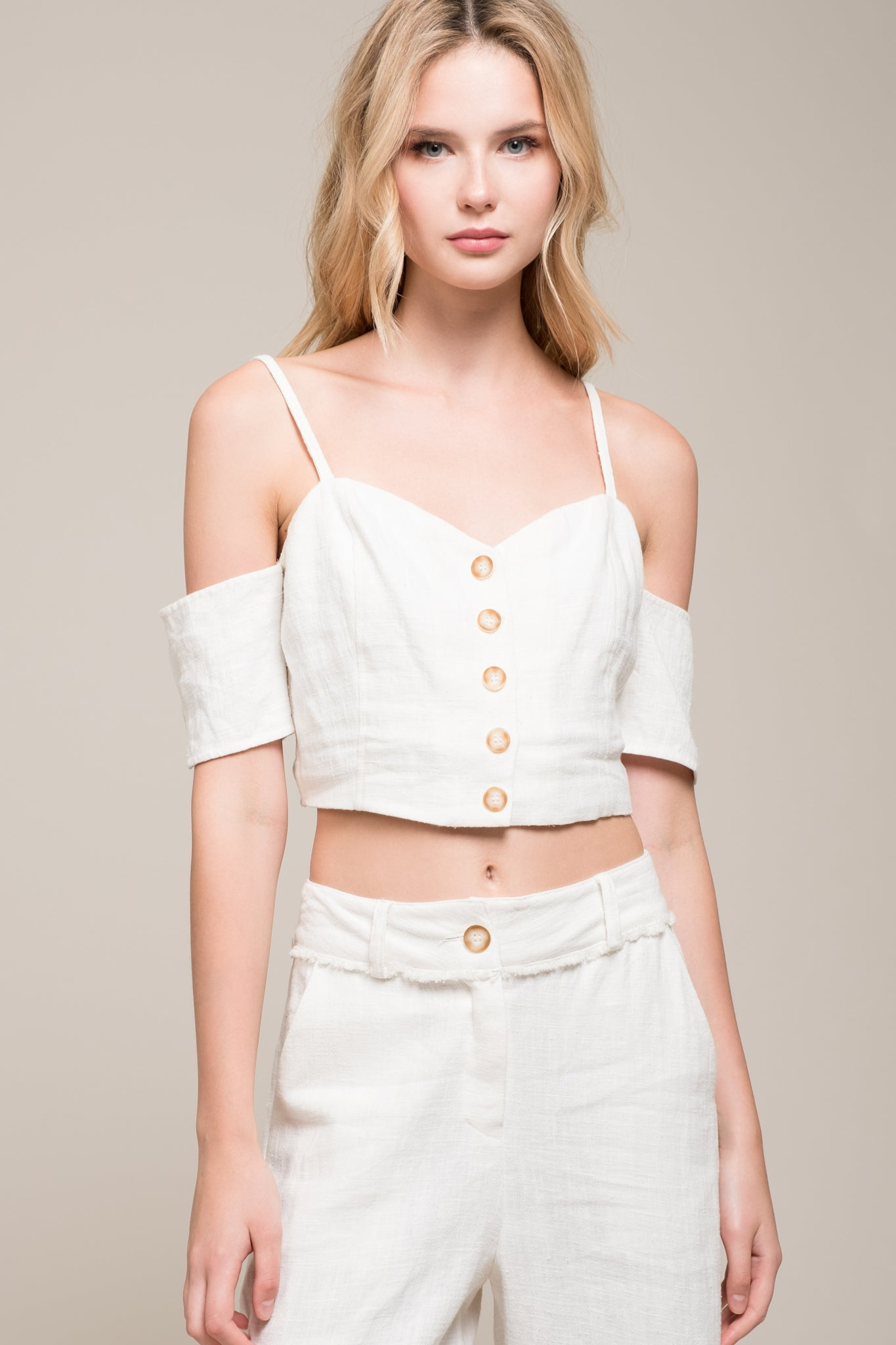 d066ea9f94083 BUTTON FRONT COLD SHOULDER CROP TOP – Moon River