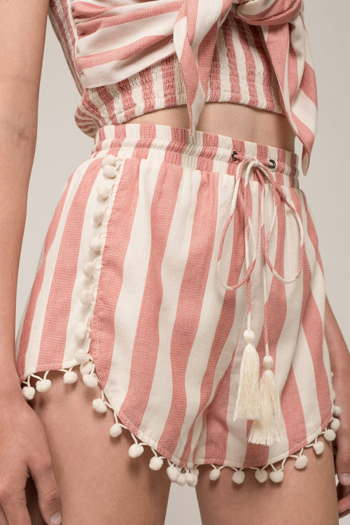 POM TRIM SHORT WITH TASSEL TIES