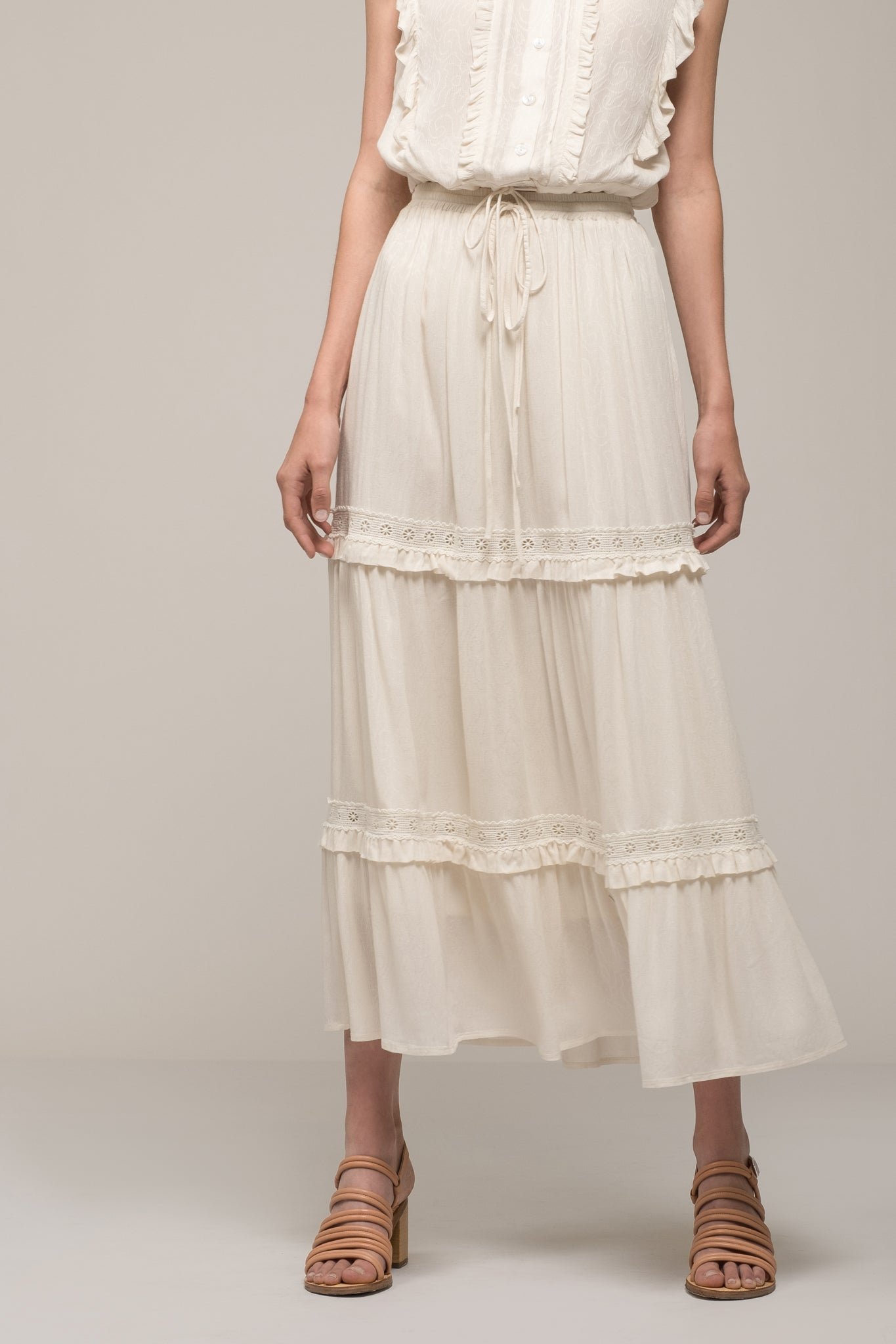 TIERED MAXI PEASANT SKIRT