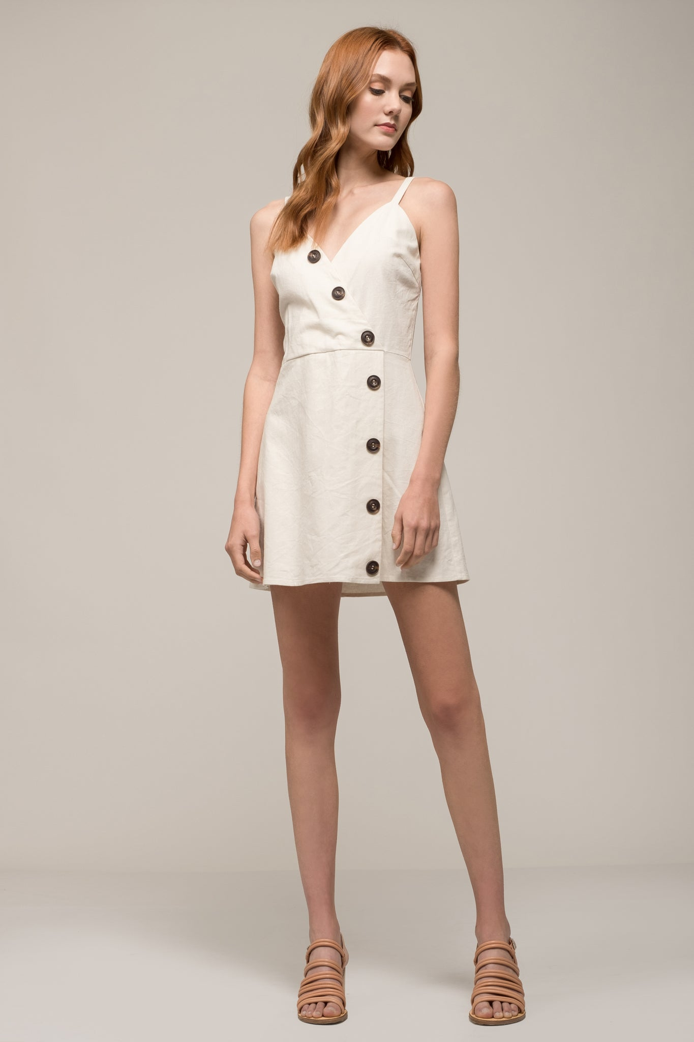 SLEEVELESS V NECK DRESS WITH BUTTON DETAIL