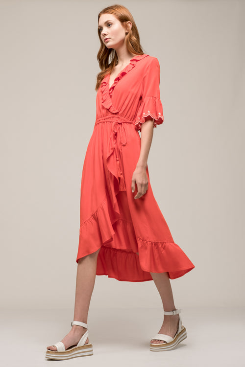 73a52f0339 RUFFLE FAUX WRAP SCALLOP HEM DRESS