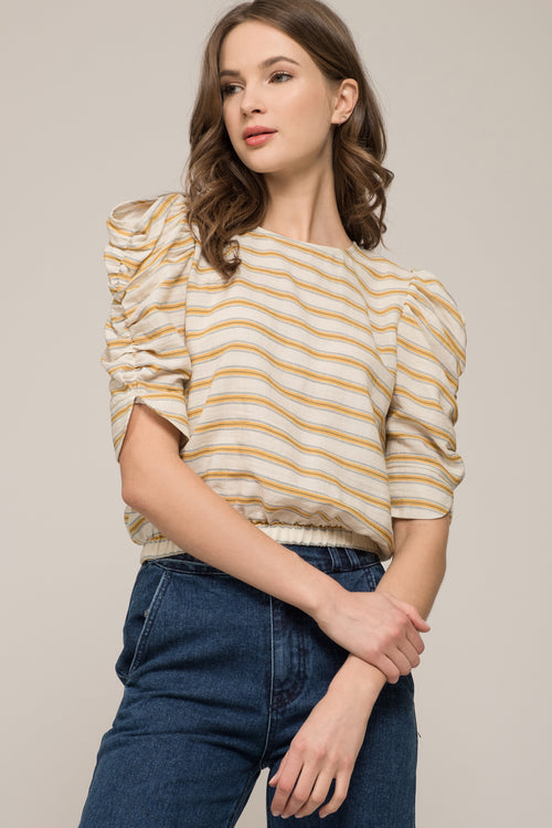 PUFF SLEEVE TOP WITH BACK BUTTON DETAIL