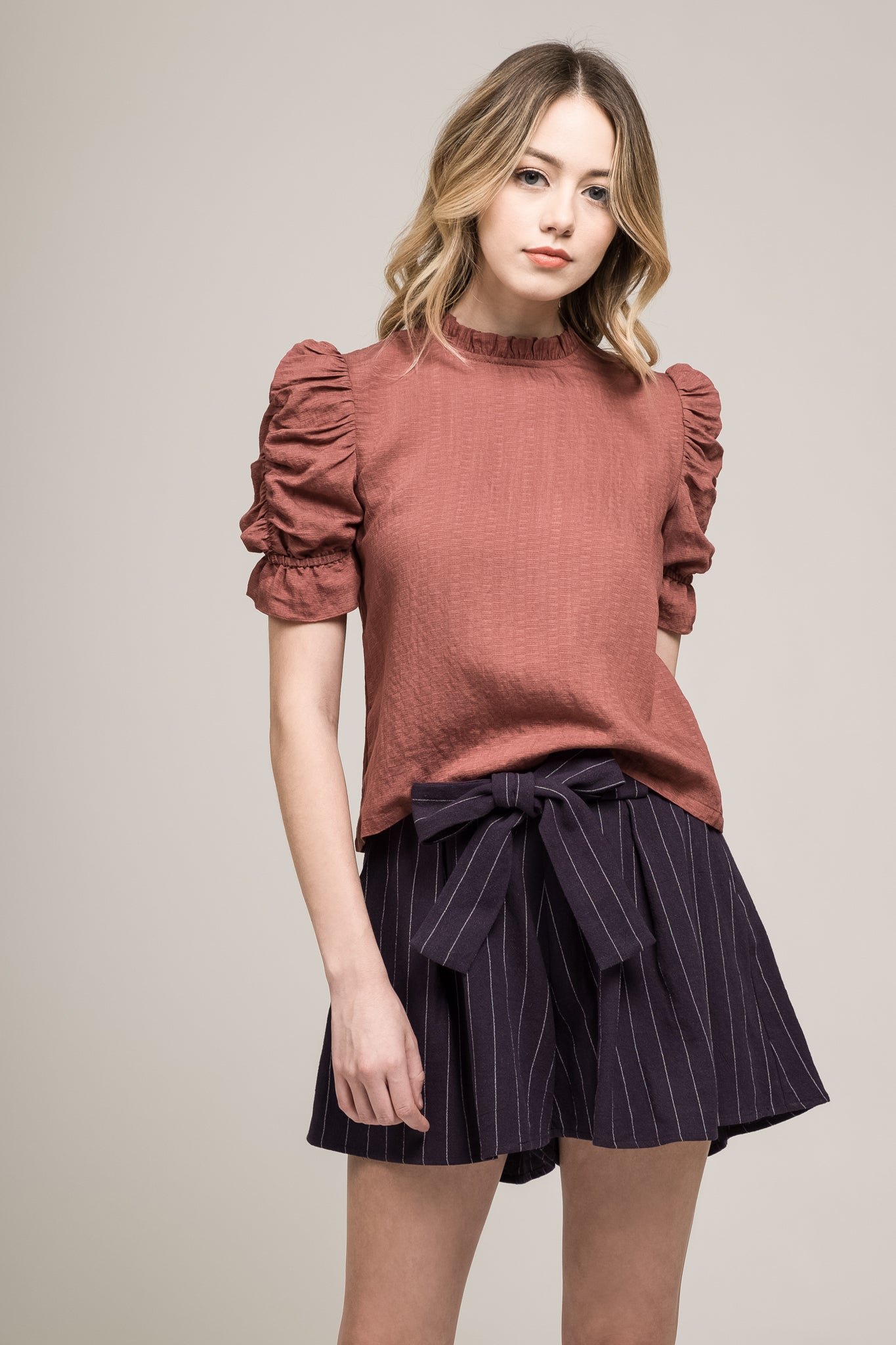 PUFF SLEEVE TOP WITH MOCK NECK TRIM