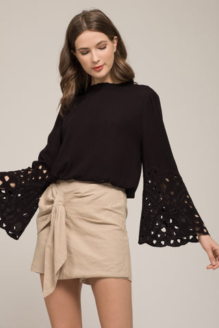 COLD SHOULDER CROP TOP WITH RUCHED BACK